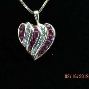 14 kt Gold Heart Necklace with Diamonds and Rubies